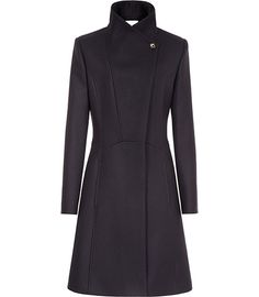 Reiss fit and flare coat. Front view.
