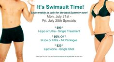 Check out these awesome #savings from AH Laser Aesthetics on I-Lipo & Ultra #laser #weightloss and #cellulitereduction treatments and packages and $20 #Lipovicine shots- this Monday July 21st-Friday July 25th Only!