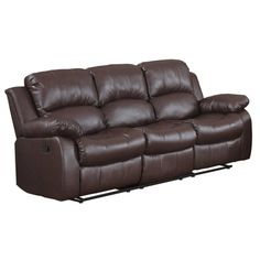 Classic Oversize And Overstuffed 3 Seat Bonded Leather Double Recliner Sofa  (Brown), Madison