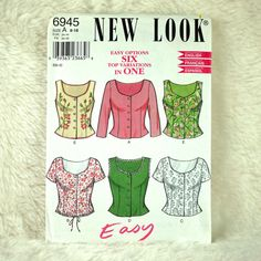Tops, S M L, New Look 6945 Pattern for Women, FREE SHIP, Fitted, Heart Neck, Front Buttons, Short Waist, 2000s Uncut, Size 8 10 12 14 16 18 by DartingDogPatterns on Etsy