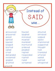 This would be a great idea for a bulletin board…Have posters of all overused words as a reference!