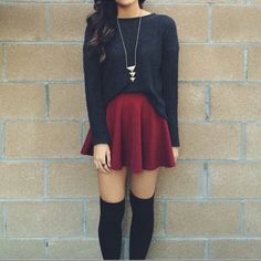 long sleeve shirt, high waist skirt and knee high socks