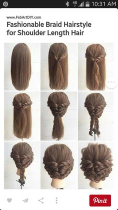 Braids For Medium Hair Picture fashionable braid hairstyle for shoulder length hair Braids For Medium Hair. Here is Braids For Medium Hair Picture for you. Braids For Medium Hair fashionable braid hairstyle for shoulder length hair. Up Hairstyles, Pretty Hairstyles, Glamorous Hairstyles, Hairdos, Hairstyle Ideas, Hairstyles Pictures, Amazing Hairstyles, Step By Step Hairstyles, Hairstyle Tutorials
