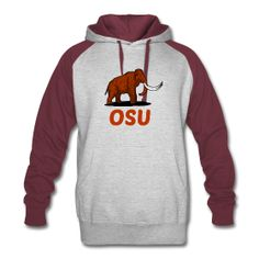 (front / back) Mammoth OSU Unisex Heather Grey / Burgundy Hoodie Sweatshirt - Mammoth remains have been discovered during construction at Oregon State University's Reser Stadium. This design commemorates the discovery.