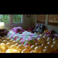 Do before she wakes up in her room Pow, pow, pa-pow! Love this. | April Fools Balloon Explosion Joke by A Subtle Revelry