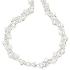 Sterling Silver 5-6mm FW Cultured Pearls & Glass beads 3-row Elastic Neck