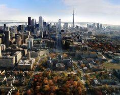 Great aerial view of Toronto - looking south down University Avenue (new Shangri-La hotel on University Ave in distance) Toronto Condo, Downtown Toronto, Toronto City, Monte Carlo, Vancouver, Tokyo, Toronto Ontario Canada, Toronto Skyline, University Of Toronto