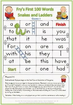 FREEBIE  Fry's First 100 Words Snakes and Ladders Games x 6