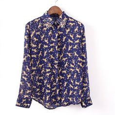 Womens Navy Blue Leopards Print Long Sleeve Chiffon Shirt