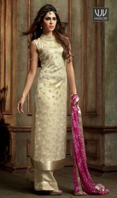 Magnetize Georgette Designer Palazzo Salwar Suit Create a smoldering impact by this cream georgette designer palazzo salwar suit. It is uniquely crafted with embroidered and resham work. Comes with matching bottom and dupatta.