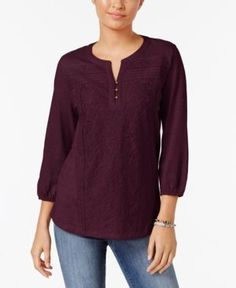 Style & Co Petite Lace-Front Henley Top, Only at Macy's - Purple P/XS