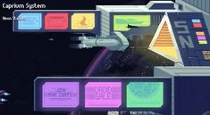 Massive Galaxy neon station in-game menu buttons flat design pixelart holographic effect side-on spaceship