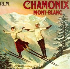 Sports d'Hiver: Vintage Poster of female + male ski-jumpers in Chamonix/Mont-Blanc