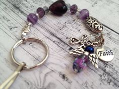 Faith Purple Beaded keyring Guardian Angel Handmade for her A02 on Etsy, $9.50