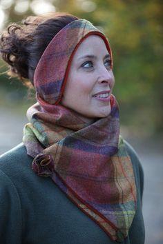 Classic Tweed Headband - Fruit Salad Check-Rust Fleece