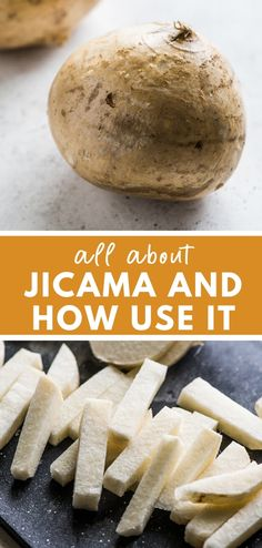 What is jicama? It's a starchy root vegetable native to Mexico that's high in fiber low in net carbs gluten free paleo friendly and keto friendly. Perfect for making jicama slaw and jicama fries! Other Recipes, Veggie Recipes, Mexican Food Recipes, Whole Food Recipes, Keto Recipes, Cooking Recipes, Dessert Recipes, Jicama Fries, Jicama Slaw