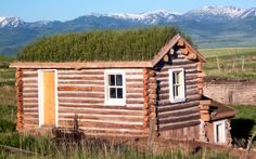Chesterfield, Idaho: A restored sod roof sprouts from the Ruger family's dugout cabin.