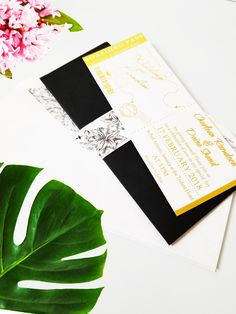 Boarding Pass Wedding Invitation Suite | Chic Wedding Set | Gold Foil, PinkFoil & White - set of 50