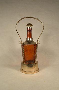 Music Box Amber Glass Decanter Liquor Bottle, How Dry I Am