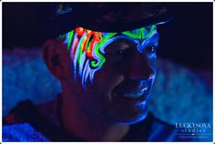Art by Lana Chromium, face painting in UV colors, Blacklight paint, event make up, creative make up, face art, San Diego, Los  Angeles, glow in the dark, face paint, halloween, party, event, comic con costume ideas, bright make-up, bright colors, rave