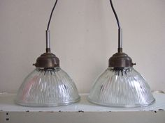 Two industrial glass lamp shades  1950s  holophane by ladybakelite