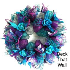 Purple and Teal / Turquoise Rose Mesh Wreath