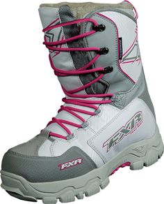FXR Racing - Snowmobile Sled Gear - Wmn's X Cross Boot - Wht/Fuch