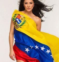Woman and flag. Flag Photoshoot, Miss Venezuela, Beauty Queens, One Shoulder, Sari, Beautiful Women, My Style, Bella, Dresses