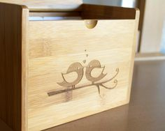 Recipe Box - Engraved Lovebirds. $62.00, via Etsy.