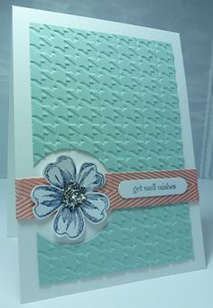 Creatin' and Stampin': An embossed get well card, Supplies Cardstock - Pool Party, Whisper White Stamps - Flower Shop, Teeny Tiny Sentiments Punches/Dies - Word Window, Pansy Punch, Circles Collection Framelits Other - Chevron Ribbon, Silver Glass Glitter