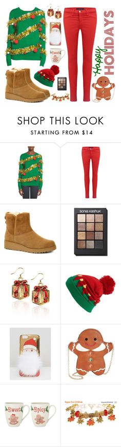 """""""Ugly Christmas Sweater"""" by englinsfinefootwear ❤ liked on Polyvore featuring Ten-Sixty Sherman, J Brand, UGG, Sonia Kashuk, Capelli New York, ASOS, Whimsical Shop and Lenox"""