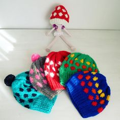 Hat pattern Knit polka dots  - baby / Adult 7 sizes - Knitting beanie tutorial PDF - Easy ebook for all the family hats