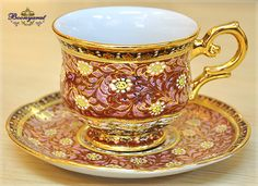 Benjarong Coffee cup with saucer in Winsor, Full patterned,Shiny glazed. [CFW] - 1,292Baht : Thai Benjarong shopping for home docorative, gift and souvenir, Benjarong.Net