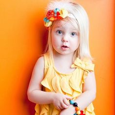 Citrus Splash couture vintage inspired fabric rosette headband for baby or little girl- Prob the cutest expression I have seen on a child! So cute!