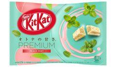 KitKat Mint, Peach Mint, And Don Quijote Limited Mint Yogurt Japanese Kit Kat, Japanese Candy, Peach Rum, Kit Kat Flavors, Snacks Online, Minnie Mouse Cookies, Tart Taste, Mint Candy, Japanese Snacks