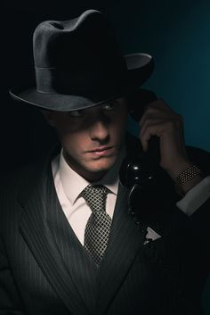 Vintage young detective on the phone with hat in suit and tie. Mafia, Detective Aesthetic, Private Eye, World Of Darkness, Mystery Novels, Suit And Tie, Past Life, Character Inspiration, Just In Case
