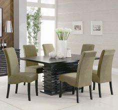 7PC Black Contemporary Dining Table Set   Http://www.furniturendecor.com