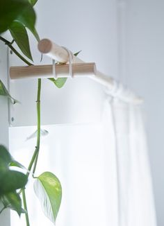 simple wooden curtain rods w/ rubber bands | IKEA Catalog 2016