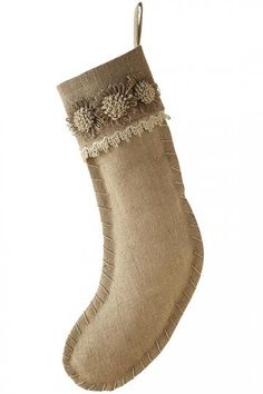 Burlap Flower Cuff Stocking