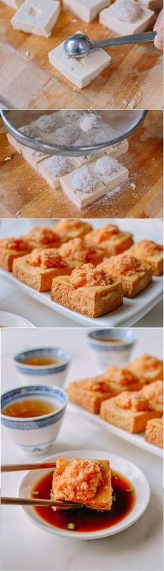 This crispy skin stuffed tofu recipe is a Cantonese-style favorite made with a shrimp filling. This Chinatown favorite tofu dish is fried to crispy perfection, and it doesn't take long to make! Tofu Recipes, Asian Recipes, Vegetarian Recipes, Cooking Recipes, Chinese Recipes, Asian Desserts, Recipies, Tofu Dishes, Taiwan Food