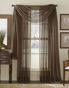 Sheer Curtains With Scarf – Curtains & Drapes Scarf Curtains, Window Scarf, Voile Curtains, Panel Curtains, Window Panels, Window Valances, Curtains 2018, Window Shutters, Voile Panels