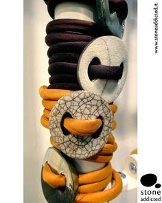 Bracciali in ceramica raku e seta