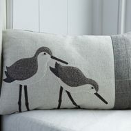Handmade Dunlin wading bird cushion with brown tweeds and wool woven in Wales Applique Cushions, Sewing Pillows, Wool Applique, Cushion Pads, Cushion Covers, Cat Cushion, Textiles, Beach Quilt, Herringbone Fabric