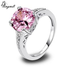 lingmei Wholesale Round Cut Pink & White Topaz AAA Silver Ring Size 6 7 8 9 10 11 12 13 Love Style Women Gift Free Shipping