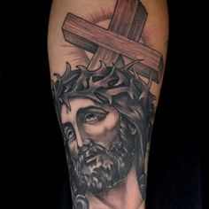What does jesus tattoo mean? We have jesus tattoo ideas, designs, symbolism and we explain the meaning behind the tattoo. Jesus Tattoo, Religious Tattoos, Ink Master, Feather Tattoos, Tattoos With Meaning, Black And Grey, Gray, King, Ideas