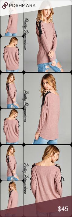 """NWT Mauve Lace Up Shoulders Long Sleeve Top NWT Mauve Lace Up Shoulders Long Sleeve Top  Available in S, M, L Measurements taken from a small  Length: 27.5""""/29.5""""  Bust: 42""""  Poly/Spandex  Features  • black lace up shoulder accents  • cold shoulders • ribbed  • relaxed, easy fit • super soft material  • long sleeves  • rounded neckline   Bundle discounts available  No pp or trades  Item # 1/2PP02170450MLST black lace up ribbed mauve pink top Pretty Persuasions Tops"""