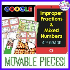 Use this Google Classroom bundle to give students an interactive and engaging way to practice changing improper fractions to mixed numbers and vise versa. This pizza-themed resource contains 36 problems with movable answer pieces on every page and an answer key. 8 Interactive Google Slides and 1 Answer Key slide (You will find the Google Product links on Page 2)When you purchase this product you will receive a link in a PDF file.