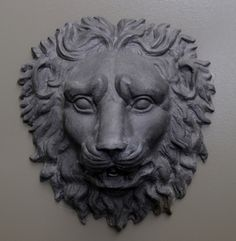 This large, well detailed, English lead lion mask is based upon a Roman styled design from the Nineteenth Century. Pictured below in combination with the Shell Wall Fountain Tier and Picture Frame Demi. Garden Ornaments For Sale, Lion Mask, Head Statue, Head Mask, Roman Fashion, Wall Fountains, Garden Inspiration, Sculpture Art, Masks