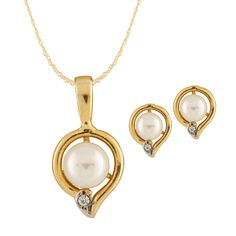 10k Gold pendant and matching earrings with 5-6mm freshwater pearls and 0.03CT diamonds