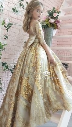 Flower girl dress for a wedding, birthday or any special day. Luxury pageant dresses by Alexandrina. Little Girl Dresses, Girls Dresses, Flower Girl Dresses, Little Princess, Princess Flower, Pageant Dresses, Tulle Dress, Beautiful Gowns, Dress Collection